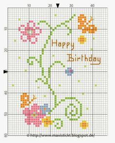 simple flowers for birthday (or other!) card. Cross stitch pattern