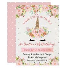 Girls Unicorn Birthday Invitation - giftidea gift present idea one first bday birthday 1stbirthday party 1st