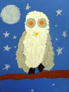 Torn paper owls with drawing instructions