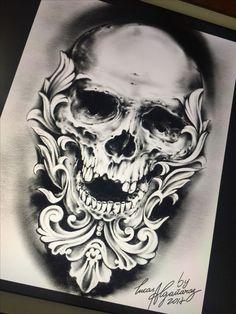 Skull desing by Lucas Algañaraz . - Skull desing by Lucas Algañaraz . Skull Tattoo Design, Skull Design, Skull Tattoos, Tattoo Designs Men, Leg Tattoos, Black Tattoos, Body Art Tattoos, Sleeve Tattoos, Grey Tattoo