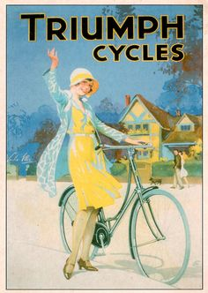 Vintage Triumph Cycles Bicycle Poster Postcard so please read the important details before your purchasing anyway here is the best buyDiscount Dealstoday easy to Shops & Purchase Online - transferred directly secure and trusted checkout. Vintage Advertising Posters, Vintage Travel Posters, Vintage Advertisements, Retro Poster, Poster Ads, Poster Vintage, Velo Retro, Pub Vintage, Etsy Vintage