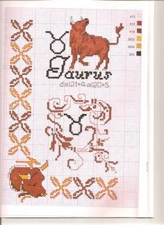 Borduurpatroon Sterrenbeeld Kruissteek *X-Stitch Pattern Zodiac ~Serie 3-5: Stier 21-04/21-05 *Taurus~