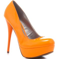 Veda Soul Lisa - Neon Orange Patent ($60) ❤ liked on Polyvore featuring shoes, pumps, heels, orange, sapatos, zapatos, platform, rounded toe, stiletto heels and trendy