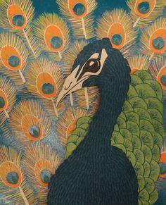 Peacock linocut prints
