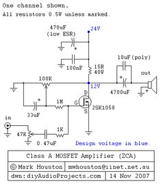 The post discusses a simple, cheap single mosfet class A