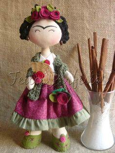 sweet interpretation frida kahlo textile art doll Tilda By Feitos Perfeitos