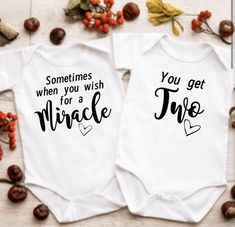Excited to share this item from my #etsy shop: Unisex Twin pregnancy announcement vest for twins and multiples #twinboys #twingirls #havingtwins #twinpregnancyideas #twinbabyreveal #twinannouncement #twinbabygift #newbabygifttwins #familybabyreveal Twin Baby Announcements, Creative Pregnancy Announcement, Its A Girl Announcement, Christmas Baby Announcement, Twin Gender Reveal, Twin Baby Gifts, Expecting Twins, Miracle Baby, How To Have Twins