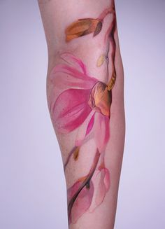 AMANDA WACHOB flower tattoo no black lines water color style pink magnolia flower