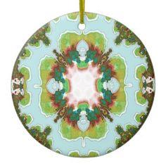Green Sky Blue Fractal Ornament