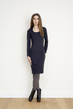 navy blue fitted jersey dress with draped shoulder details #NUSUM fall winter 1314 #fashion #style #look #lookbook #design #hamburg