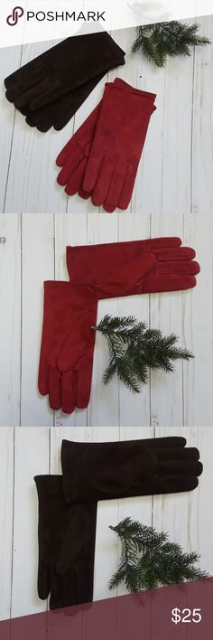 2 pair guenine suede leather gloves New never worn. Cranberry red, chocolate brown with thin fleece lining. X L NA Accessories Gloves & Mittens