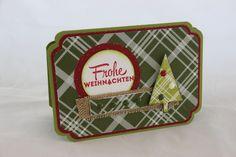 Besonders festlich wird es mit Karten aus dem Designerpapier Fröhliche Feiertage von Stampin'  Up!, verziert mit dem Stempelset Freude zur Weihnachtszeit. Da kann man Weihnachten kaum noch abwarten. #Weihnachten #Stampinup #Geschenkidee #DIY #Weihnachtskarte #Karte #Stempel