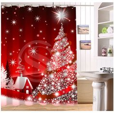 Online Shop New Custom Christmas Gift Modern Shower Curtain Bathroom Waterproof Bath Screens For