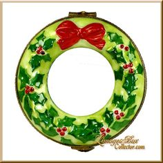 Christmas Wreath with Red Bow Limoges Box (Retired)