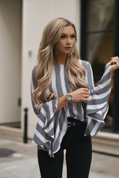 d6d73b47ab007b All the Bells and Stripes | The City Blonde | Bell Sleeve, Bell Sleeve Shirt