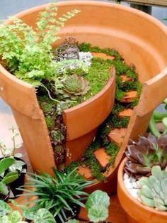 Broken pot idea. Cute for those fairy gardens