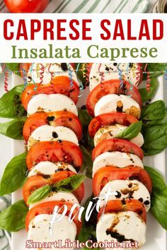 Quick, easy and delicious, this Italian caprese salad is perfect to serve as an appetizer or a side dish. Made with simple ingredients and finished with an olive oil and balsamic vinegar dressing, it's ready to serve in less than 10 minutes. This is without doubt my favorite salad ever! | Smart Little Cookie @smartlilcookie #easysaladrecipes #capresesalad #simplesummersalad #capreserecipes #dinnersalad #dinnerideas #saladinspiration #summersalad #italiansalad #smartlilcookie Summer Recipes, Fall Recipes, Delicious Recipes, Holiday Recipes, Quick Appetizers, Appetizer Recipes, Vinegar Dressing, Eating Vegetables, Vegetable Side Dishes