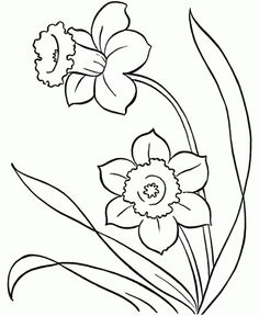 line drawings of snowdrops - Google Search