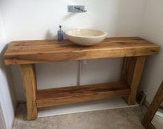 Solid oak 6 beam coffee table. | Etsy Bathroom Vanity Units, Rustic Bathroom Vanities, Small Bathroom, Bathroom Ideas, Oak Sleepers, Railway Sleepers, Indoor Range, Wooden Vanity, Sink Units