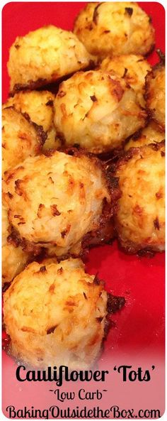 This low carb recipe for Cauliflower Tots will make it easy for you to get a 'french fry fix' while dumping the carbs. - Baking Outside the Box bakingoutsidethebox recipe Healthy Recipes, Vegetable Recipes, Diet Recipes, Healthy Snacks, Vegetarian Recipes, Healthy Eating, Cooking Recipes, Recipies, Pescatarian Recipes