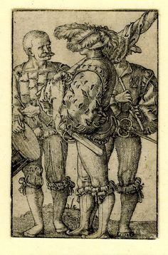 1525 Barthel Beham - A drummer, a standard-bearer and a piper; WL figures, seen from l to r; the standard-bearer at centre in profile to l; trimmed along upper edge, a false border in black ink drawn in. Engraving
