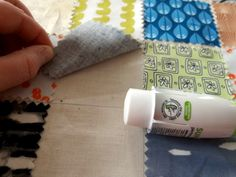 postage stamp quilt glue the pieces down to secure