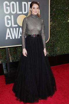 SHAILENE WOODLEY nominated for Big Little Lies, in custom Ralph Lauren Collection turtleneck and skirt with Forevermark jewelry.