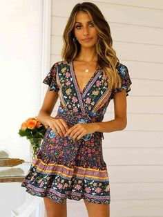 40c26a7da20 Short-sleeves V-neck Floral Beach Mini Dresses