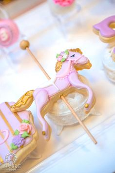 Carousel horse cookie from Mary Poppins Carousel Themed Birthday Party at Kara's Party Ideas!