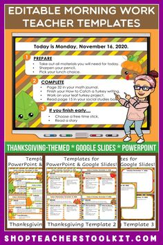 These Thanksgiving-themed Editable PowerPoint and Google Slides Teacher Templates include space to type the day and date, reminders of what to do when entering the classroom, as well as 'must do' and 'may do' assignments. Remind your students of their morning assignments during arrival time by displaying them on your whiteboard or SMARTBoard. #teachertemplates #morningarrivalinstructions #editable #powerpoint #googleslides #thanksgiving