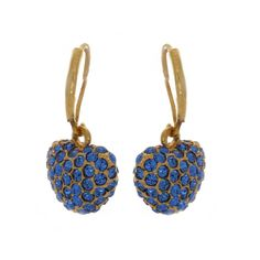 qvc Joan Rivers Goldtone Simulated Sapphire Birthstone Heart Earrings P040 #JoanRivers #DropDangle