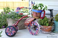 Patriotic tricycle - love the wheels!