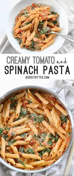 Tomato and Spinach Pasta Creamy Tomato and Spinach Pasta is a fast an easy answer to dinner - . Add white beansCreamy Tomato and Spinach Pasta is a fast an easy answer to dinner - . Pasta Cremosa, Pasta Tomate, Clean Eating, Healthy Eating, Dinner Healthy, Healthy Pastas, Healthy Lunches, Vegan Meals, Good Food Dinner