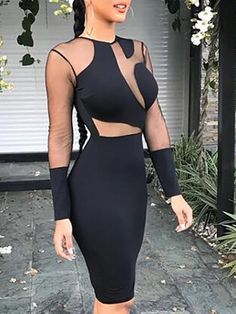 Shop Sheer Mesh Insert Bodycon Dress – Discover sexy women fashion at  Boutiquefeel 6012070da16e