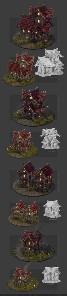 Environment practice - Modular Lowpoly 3D Houses featuring handpainted stylized textures.