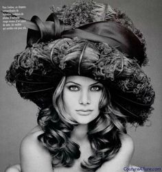 Hat made from ostrich plumes, Valentino 1993.