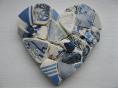 British Antique/Vintage Blue sea pottery heart decoration