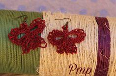 Pendientes de crochet. Mariposas. Complementos y accesorios San Valentín. Bisutería-joyería crochet. Arete en rojo sangre Crochet. de PmpPetriMontes en Etsy