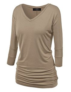 729a6200 Made By Johnny WT1036 Womens V Neck 3/4 Sleeve Dolman Top with Side  Shirring XL Taupe