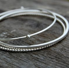 Organic Bangle Stack  set of 3 by wireddesign on Etsy, $71.00