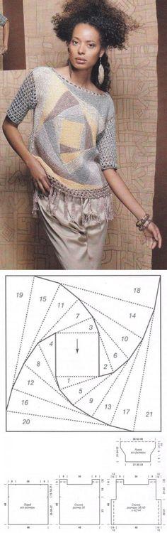 Crochet Patterns Jumper Female pullover in patchwork style … ♥ Deniz ♥ Summer Knitting, Hand Knitting, Form Crochet, Knit Crochet, Tricot D'art, Knitting Patterns, Crochet Patterns, Crochet Jacket, Knit Fashion