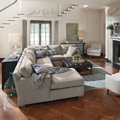 Arhaus Site shows it with a blue rug Dune Upholstered Left Arm Three Piece Sectional in Theater Gunsmoke Buy Living Room Furniture, Living Room Bench, Living Room Sectional, Sectional Sofa, Living Room Decor, Couches, Living Rooms, Style At Home, Sofa Design