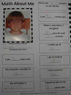 Math About Me-love this for beginning of year!