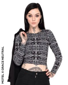 Motel X Grace Neutral is the latest in our series designer collabs to hit Motel! Featuring the long sleeve bodycon Bonnie crop top. Grace Neutral, Neutral Style, Hot Tattoos, Girl Tattoos, Tatoos, Ink Model, Portraits, Stylish Tops, Instagram Girls
