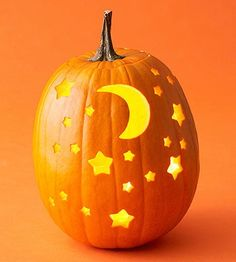 carved out moon in a pumpkin | Halloween stars n moon pumpkin carving | crafts
