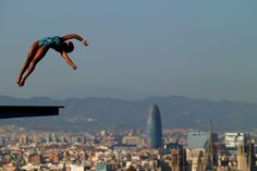 Maria Betancourt of Venezuela competes in the Women's 10m Platform Diving final  on day six of the 15th FINA World Championships at Piscina Municipal de Montjuic on July 25, 2013 in Barcelona, Spain.