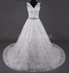 Aline+Vneck+Chapel+Train+Lace+with+Crystal+Sash+by+ChantillyBridal,+$268.99