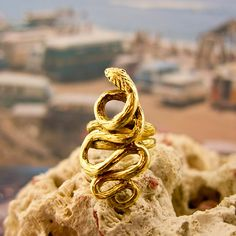 """I've loved snake jewelry since I was eight and my aunt gave me a gold-colored ring with a """"ruby"""" eye."""
