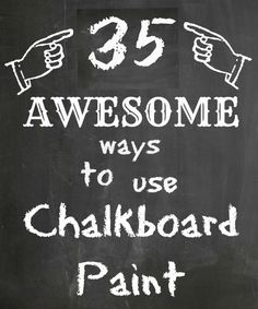 35 Ways to use Chalkboard Paint.  I think I need to go buy some now!