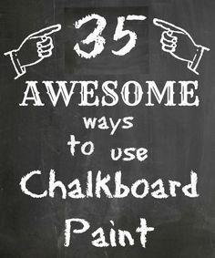 35 Ways to use Chalkboard Paint.  I think I need to go buy some now! Chalkboard Paint Projects, Chalkboard Art, Crafts To Do, Diy Projects To Try, Party Crafts, Chalk Art, Art Boards, Decoration, Crafty Craft